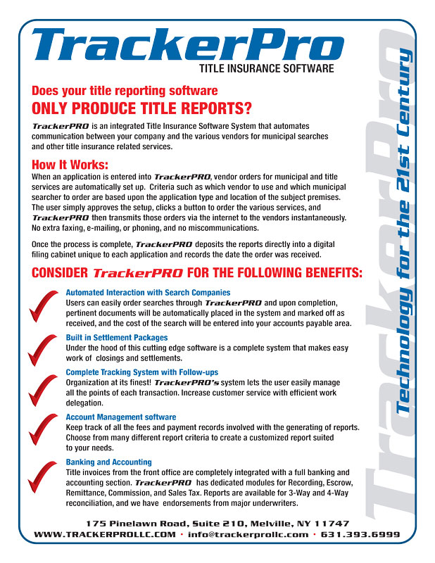 TrackerPro title insurance software solution feature details